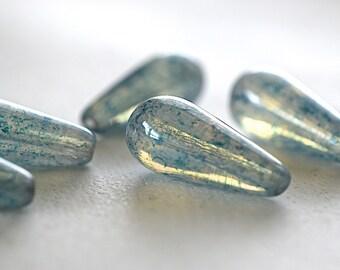 Czech Glass Drop Bead -20X8mm- Translucent w/Denim Blue Speckles - 5 Pieces (AN6-61)