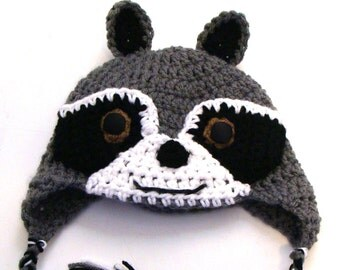 Raccoon hat: Newborn through adult sizes available. Made to order