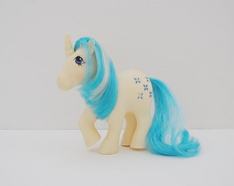 My Little Pony, Vintage Majesty Pony, G1 Pony, White and Blue Unicorn MLP Pony, 80's Toys
