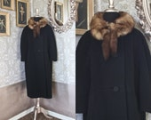 Vintage 1960's Lilli Ann Black Wool Coat with Blue Fox Collar Size Large