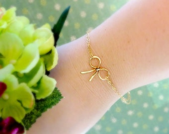 Bridesmaid Gift set of SIX Bow bracelets, dainty bow jewelry, bridal party gift set, six bracelets for bridesmaids, otis b, gold or silver