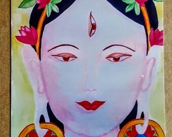 White Tara, White Tara card, goddess card, White Tara greeting card, goddess art print, art card from watercolor original painting