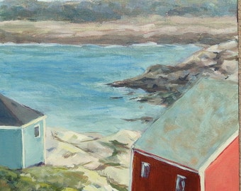 """Landscape Painting-11x14 Original Acrylic Painting """"View of Peggy's Cove"""""""