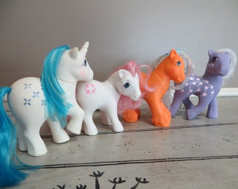 Vintage 1980s Hasbro My Little Pony Set of 4 Vintage Toys Toy Horses Retro Toys Gift for Her Baby Sundance 83 Majesty 83 Love Melody