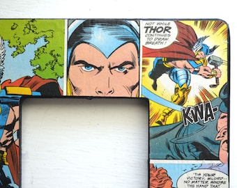 Thor of Asgard picture frame - Vintage handmade comic book art