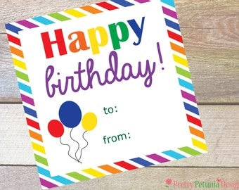 Instant Download Birthday Tags - Fill in your name - Boy or Girl - Printable