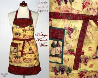 Vintage French Wine Apron, classic chef's apron, hostess / party apron, READY TO SHIP