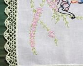 Long Pastel Vintage Embroidered Table Runner with Crochet Edging, Vintage Linens, Dresser Scarf, Floral Embroidered Tablerunner