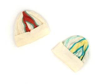 Vintage 1970's Soft Cream Knit Mini Funky Retro Stripe Bennie Winter Cap Hat Yellow Blue Rust Olive