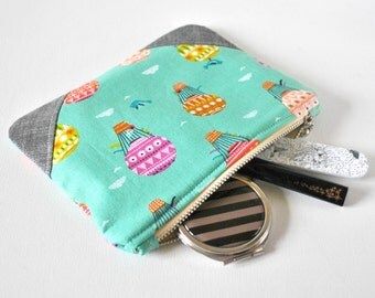 Woman's aqua hot air balloon silver glitter linen padded beauty pouch protective pink lime coral linen make up bag cosmetics pouch.