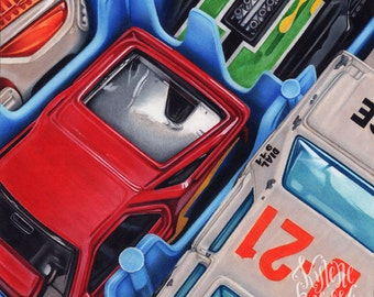Drawing of Toy Cars - Print of Original Art