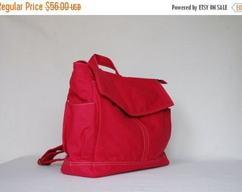Back To School SALE - 30% Hugo Backpack (Water Resistant) Cherry Red / Shoulder Bag / Satchel / Rucksack / Messenger Bag/Diaper Bag/ School