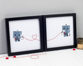 Robot Love Prints - Personalised Robot Prints - Anniversary Gift - Wedding Gift - Cute Robot Pictures - Robot Lovers
