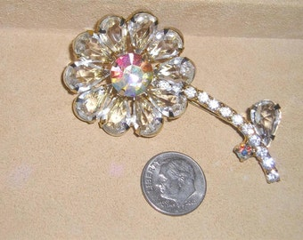 Vintage Iridescent And Clear Rhinestone Flower Blossom Brooch 1960's Jewelry 2205