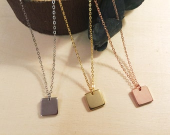 Simple Geo Square Layering Necklace