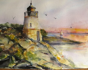 Castle Hill Lighthouse Watercolor Painting  Original Art Narragansett Bay Newport RI Carlie DeGaetano CarottasArt