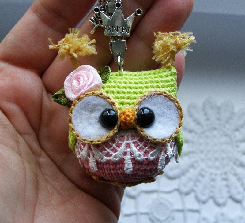 Owl keychain crochet owl key chain amigurumi owl toy bag