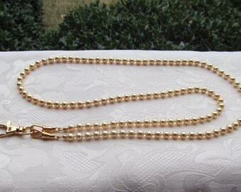 Gold Beaded Lanyard Swarovski Gold Pearl Beaded Lanyard Necklace ID Badge Holder