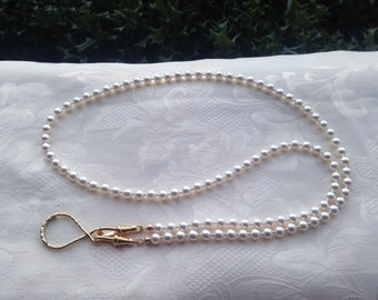 White Pearl Badge Lanyard Swarovski Pearl Beaded Lanyard Necklace ID Badge Holder