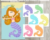Pin the Tail on the Mermaid - 16x20 - INSTANT DOWNLOAD - PRINTABLE