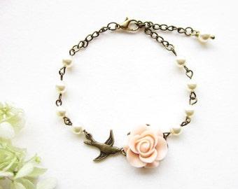Armband,bracelet,Bridemaids Gift,Rose Bracelet,Pearl Bracelet,Flower Bracelet,Wedding Jewelry,Maid of Honor Gift,Bridal Accessories