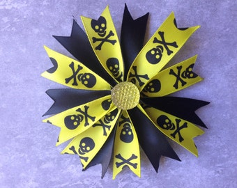 "Spooky cute 4"" skull and crossbones spiked Halloween bow"