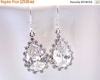 SALE Bridal Earrings, Glass, Cubic Zirconia, Crystal Earrings, Silver, Wedding Jewelry, Bridesmaid Earrings, Bride Earrings, Bridesmaid Gift
