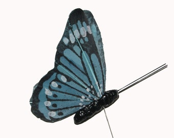 12 pc 2 1/4 Inch Turquoise Feather Butterfly with Folded Wings (24002BF)  NEW!!