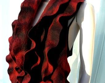 Felted ruffled scarf, merino wool shawl  -  Holiday Fashion -  wool shawl black dark red