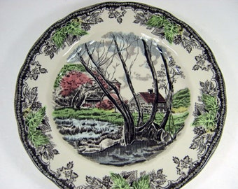 Vintage Johnson Bros SALAD PLATE Set/2 Plate FRIENDLY ViLLAGE Willow by the Brook Transfer Ironstone England
