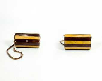 Vintage Handmade Two Tone Striped Wood Strip Round Beaded Clutch Shoulder Bag