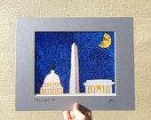 "Print, ""Starry Night in DC"", YOUR CHOICE of mat color, fits 11x14 inch standard picture frame, high quality reproduction print"