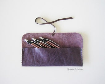 ON SALE 30 instead of 45 -  The Little Purple Rain - Leather Pencil Pouch, purple, aubergine, hand stitched, pen case, rustic, for pens, 2x8