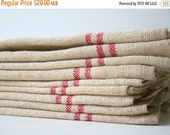 EOYC antique french métis kitchen towel, red stripes, vintage french kitchen linens, red and beige, vintage tea towel