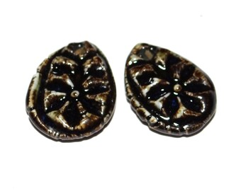 Ceramic Earring Charms Pair Stoneware Handmade Rustic Black Grey