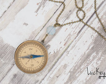 Vintage Compass Necklace, Upcycled Compass Necklace, Compass Necklace, Upcycled Jewelry, Upcycled Necklace, Compass Jewelry, Steampunk Chain
