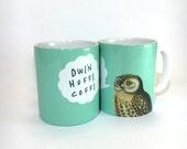 New Mug Dwi'n Hoffi Coffi Welsh I Like Coffee Aqua Blue Ceramic Mug 11oz