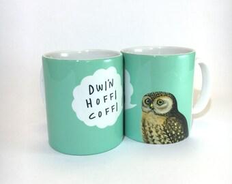 Mug Dwi'n Hoffi Coffi Welsh I Like Coffee Aqua Blue Ceramic Mug 11oz