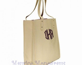 Personalized Faux Leather Tote Bag - Ivory Great Purse, Beach Bag, or Shopping Bag. Great Bridesmaid Gift Includes Monogram