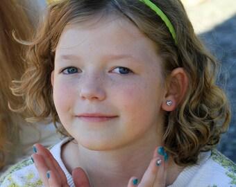 Earrings, Heart Earrings, Childrens' Earrings, silver heart earrings, silver earrings, sterling silver earrings, hearts