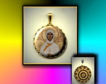 St Ia Orthodox Saint hand pressed flat button CABOCHON in Brass Charm / Pendant