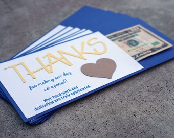 Navy and Yellow Wedding Vendor Tip Cards - Sets of 3, 6, or 9