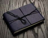 Leather Journal or Leather Sketchbook, Medium Sized, Raven Purple Handbound Coptic Stitch Notebook