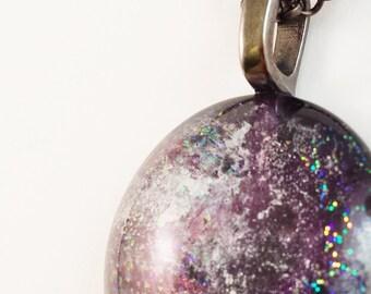 Round Glass Galaxy Pendant - Deep Space