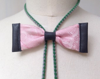 Pink silk bow tie with grey leather and green/grey bolo cord (B19)