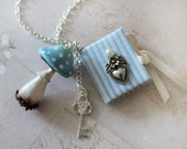 Magic Mushroom Necklace -Toadstool Necklace - Spell book  Pendant - Fairy Tale Magic Mushrooms Pendant- Alice In wonderland Necklace -