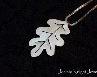 Argentium silver oak leaf pendant