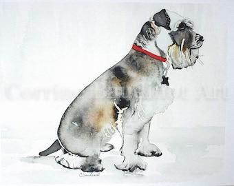 Watercolor PRINT of Miniature Schnauzer, Schnauzer art, dog portrait, original, pet PRINT, abstract art, home decor