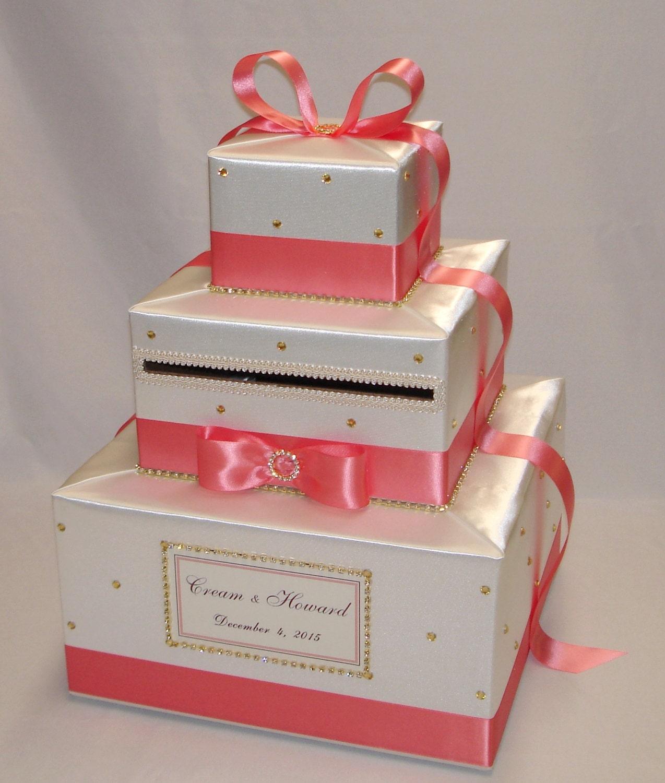 Ivory and Coral Reef Wedding Card Box Gold Rhinestones