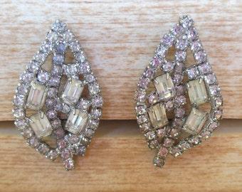 Vintage Clip Earrings Rhinestone Leaf Silver 50s (item 204)